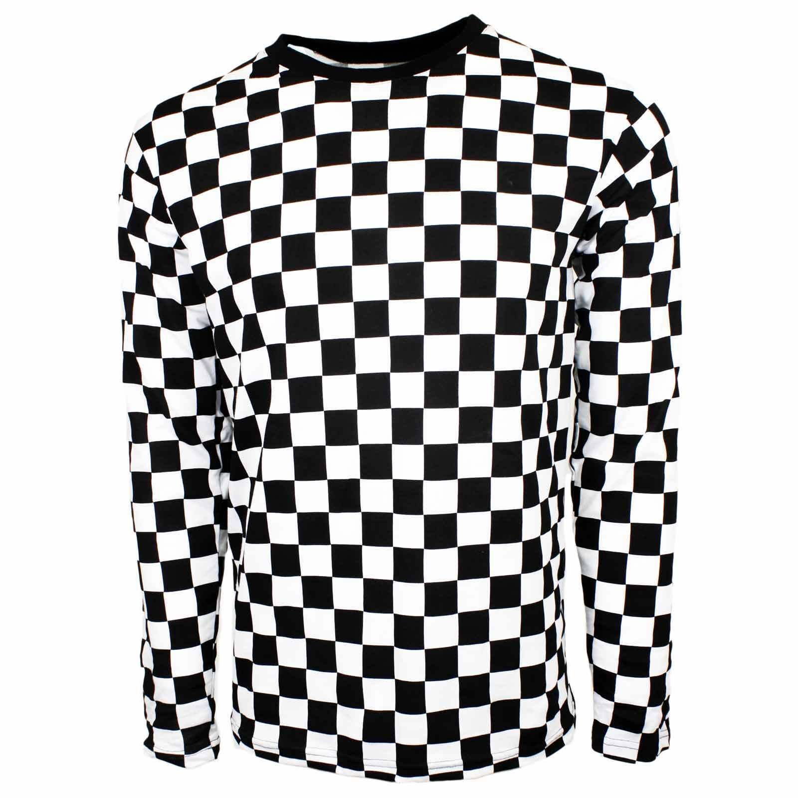 845cc4da1d00 Men's Rad 80's Long Sleeve Punk Checkered Shirt Skater Black White S M L ...
