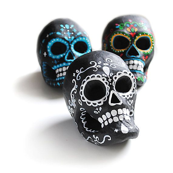 Black and White Classic Day of the Dead Paper Mache by PeachyCheek, $38.00