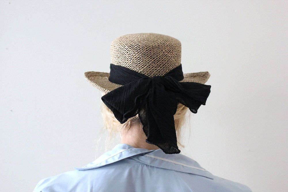 Vintage Straw Hat // French Girl Hat Black Bow. $24.00, via Etsy. #vintage #shops #shopping #fashion #clothing #style #trends #halloween #costume #sailor #sailorgirl #nautical #costumeideas #frenchgirl