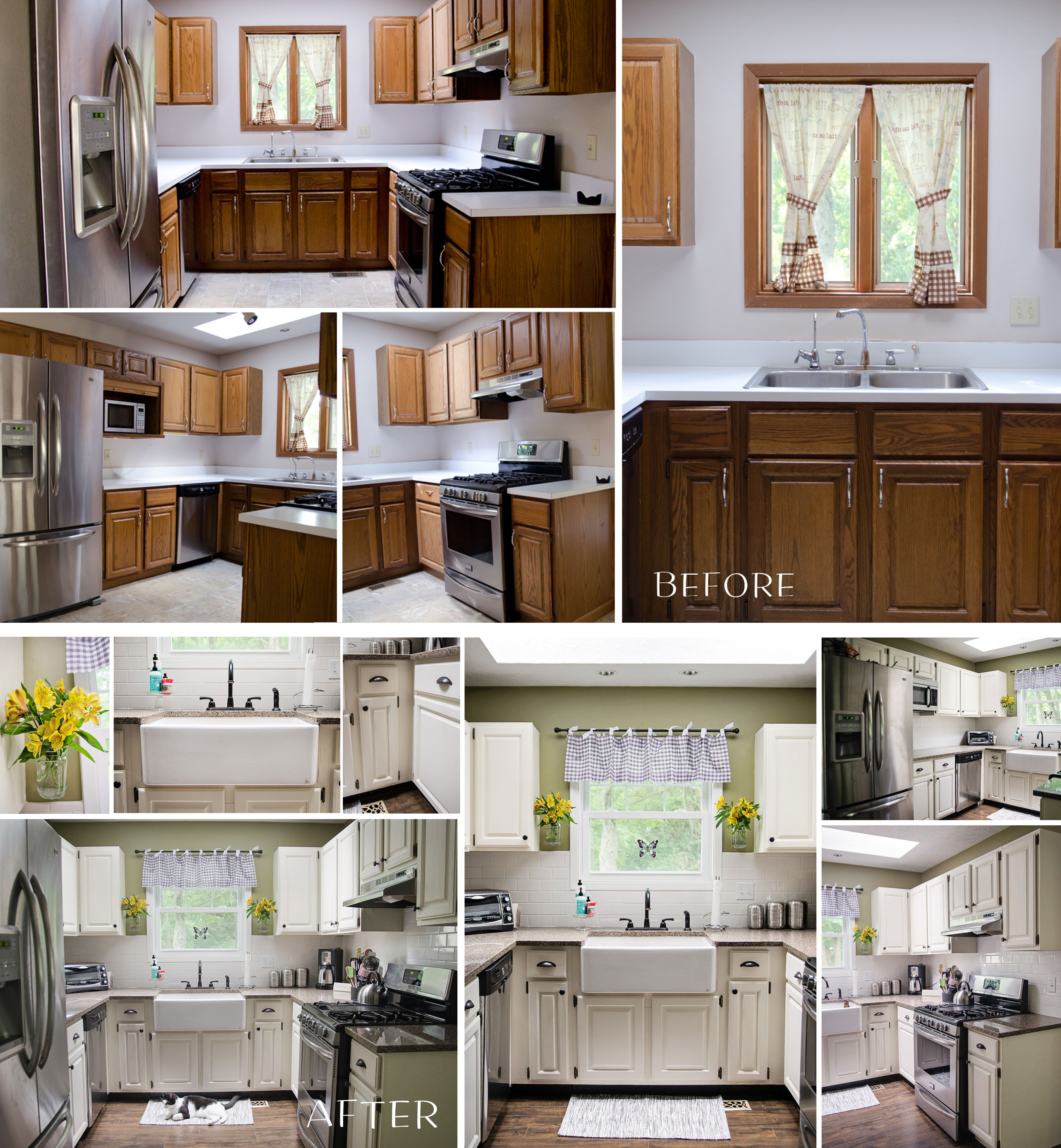 Small Kitchen Make-Over- Asia- painting glossy white over existing ...