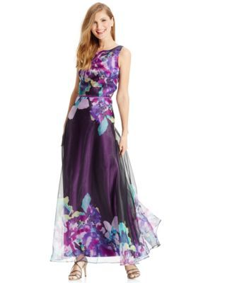 e0757d411245 Mother of the Bride Dress | Tahari ASL Exploded Floral-Print Sleeveless Gown  | Macy's $179 **NOTE: Mom would actually probably love this one, ...
