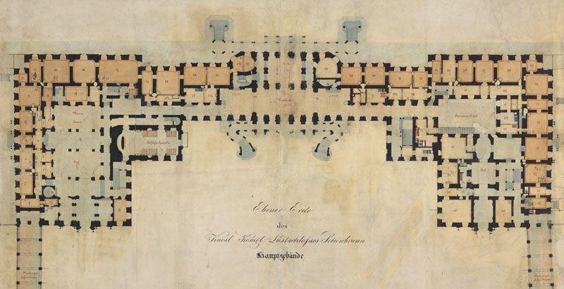 erdgescho schlo sch nbrunn historischer plan. Black Bedroom Furniture Sets. Home Design Ideas