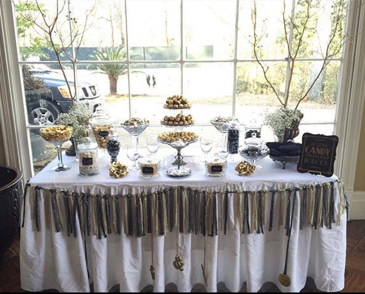 1920\'s Old Hollywood Gatsby Wedding Candy Buffet - Black, Gold ...