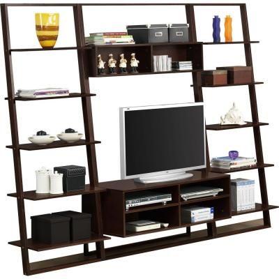 High Quality 4D Concepts Arlington 12 Shelf Wall Entertainment Center In Dark  Cappuccino 89801   The Home Depot