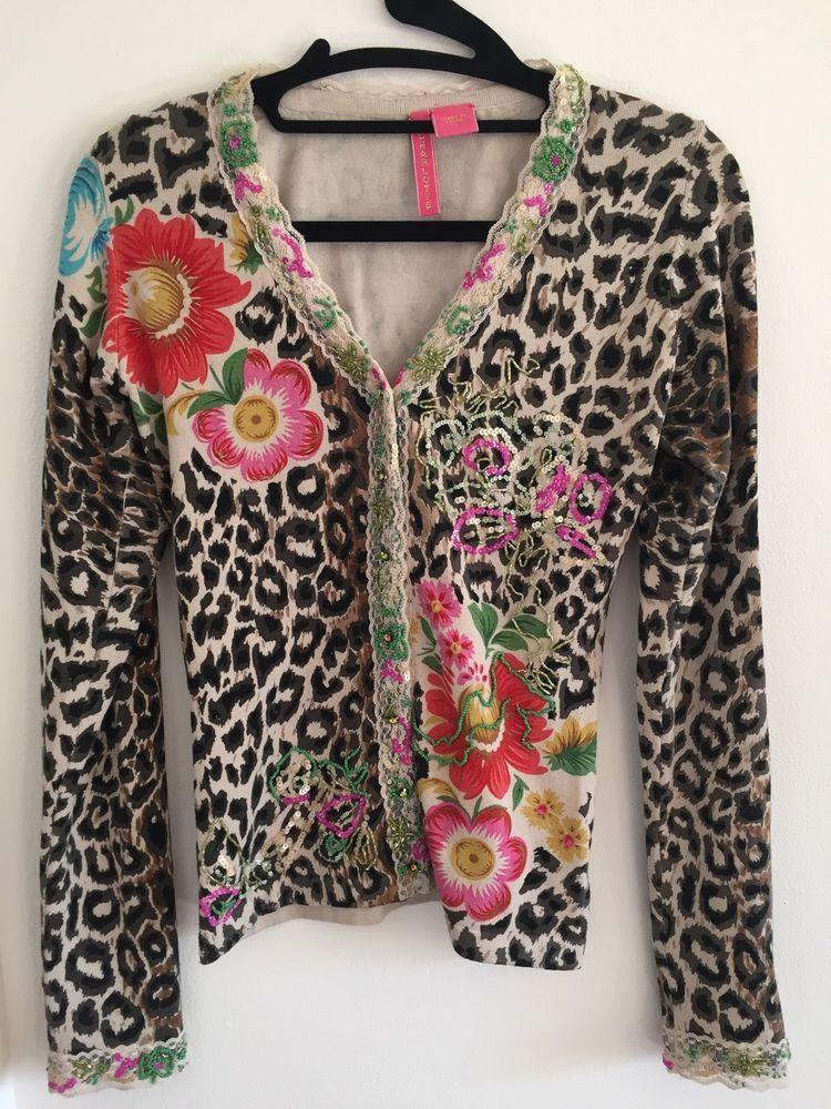 Charlotte Tarantola Leopard Print Cardigan Flowers Beading Size ...