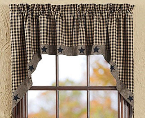 New Primitive Country Black Tan Check Applique Star Swag Window Curtain Curtains Living Room Primitive Curtains Primitive Kitchen