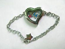 silver heart bracelet locket