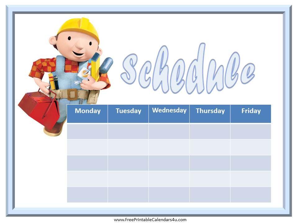 Bob the Builder free weekly calendar Weekly Calendar for Boys - free weekly calendar