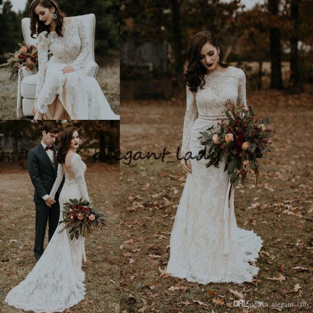 Vintage Country Mermaid Wedding Dresses With Long Sleeve 2019 Backless Jewel Full Lace Sweep Train Bohemian Bridal Wedding Dress From Alegant Lady 157 79 Dh Wedding Dresses Online Wedding Dress Bridal Gowns Mermaid [ 1024 x 1024 Pixel ]