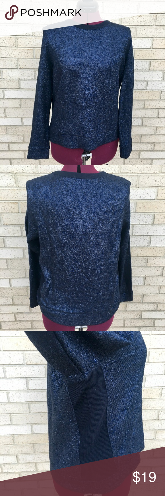GAP Sparkly Holiday Dark Blue Sweater Size L | Blue sweaters ...