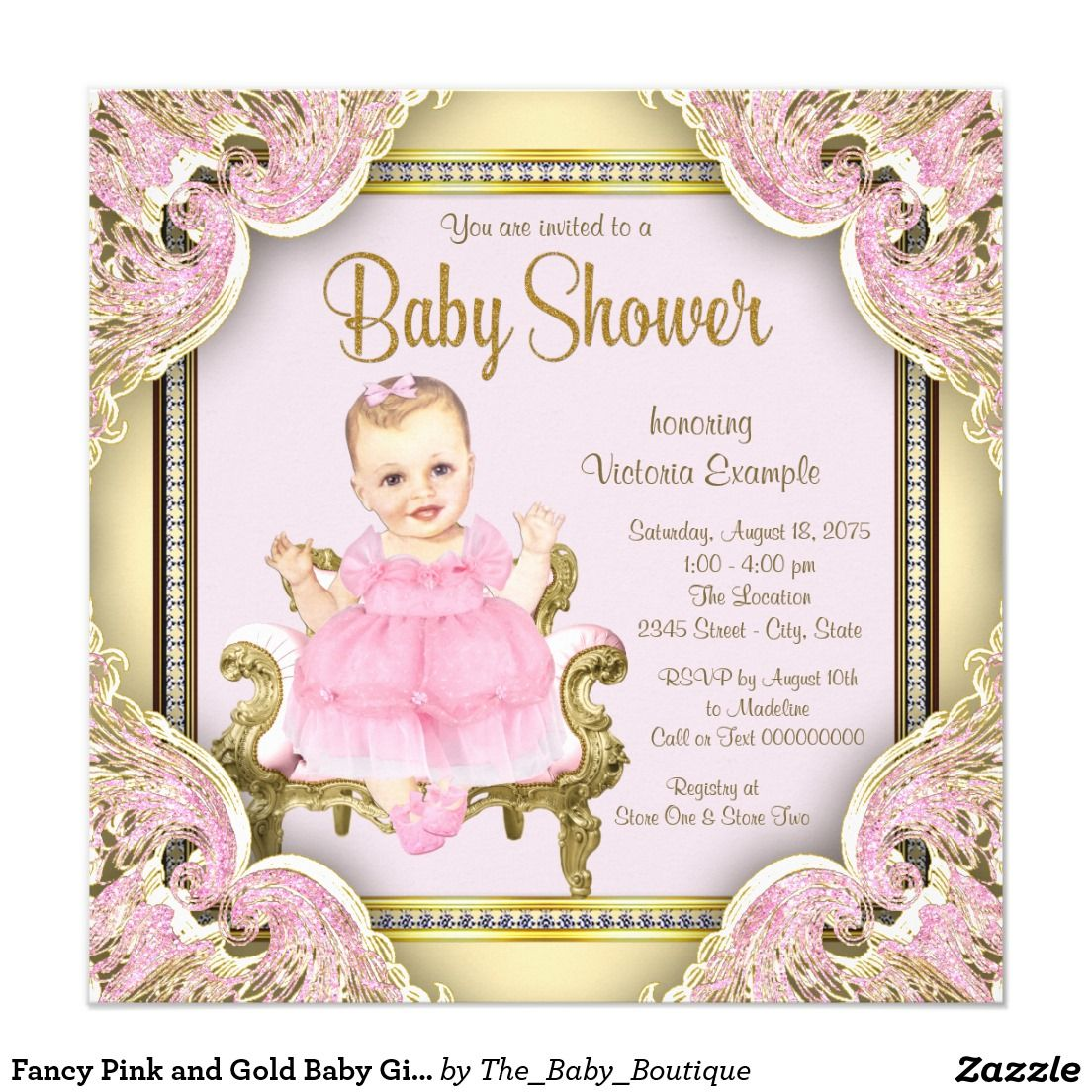 Fancy Pink and Gold Baby Girl Shower Invitations | Girl Baby Shower ...