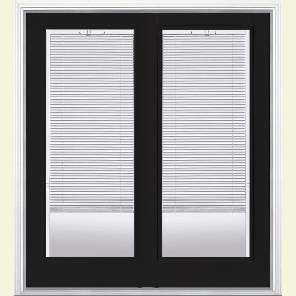Masonite 60 In X 80 In Jet Black Steel Prehung Right Hand Inswing Mini Blind Patio Door In Vinyl Frame With Brickmold 20262 Patio Doors Vinyl Frames Mini Blinds