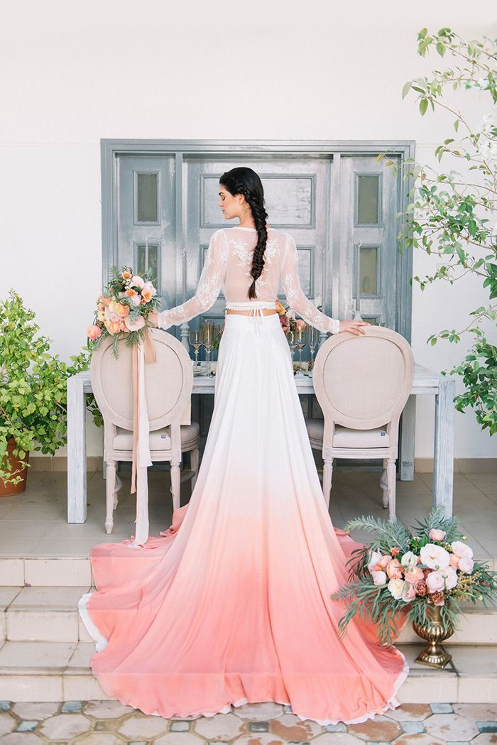 Dip Dye Wedding Ideas in Ombré Peach and Coral