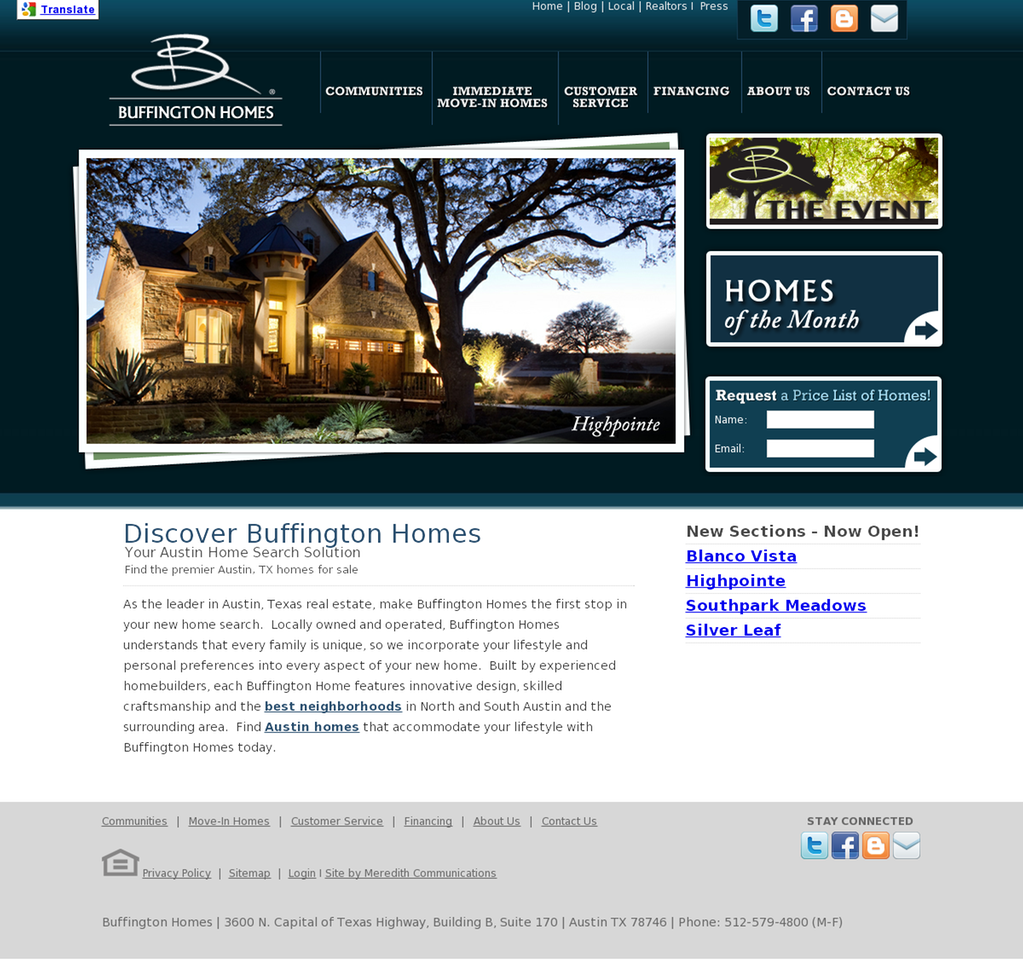 Buffington Homes Website Design New Home Builders Home Builders Real Estate Houses