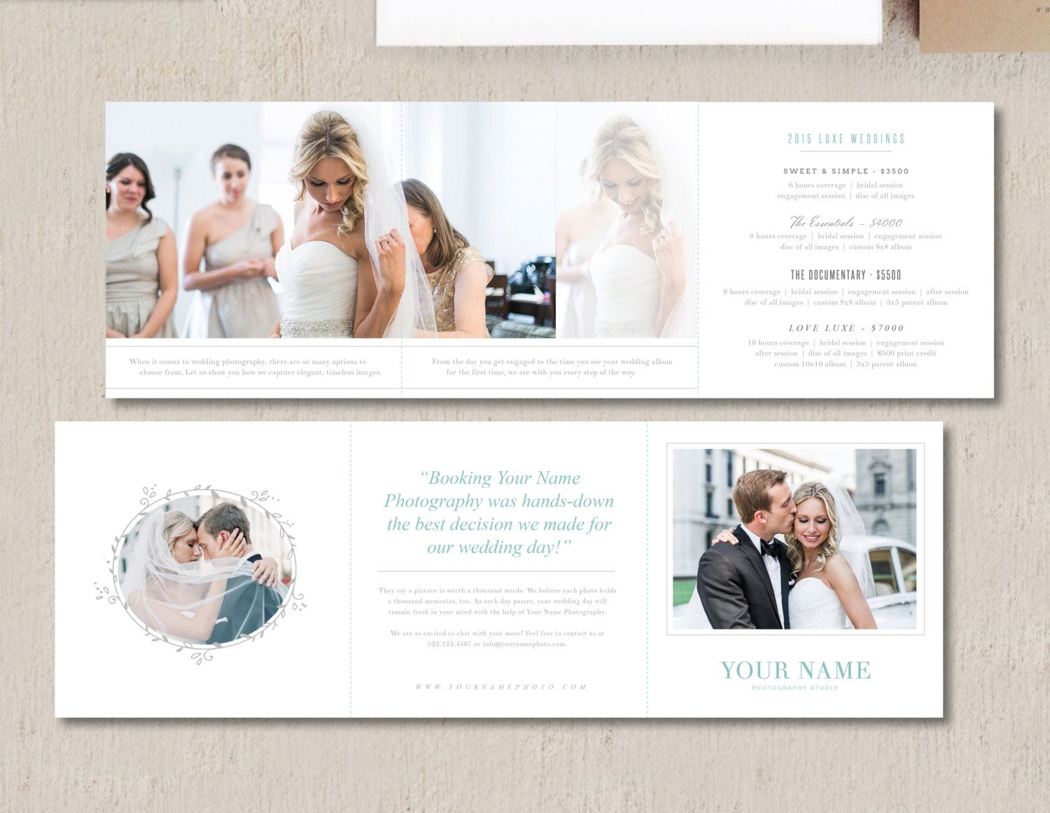 Pricing Guide Trifold Template For Wedding By Designbybittersweet Photography Pricing Template Pricing Guides Templates Photography Price List
