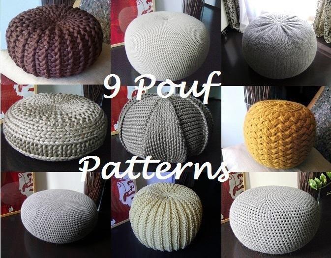 6) Name: \'Knitting : 9 Pouf Floor cushion Bean Bag Pattern ...