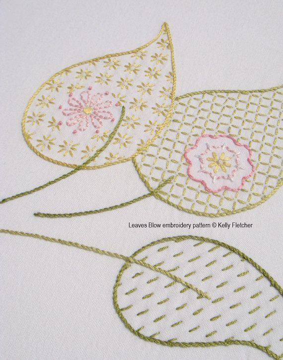Leaves Blow Hand Embroidery Pattern Modern Embroidery Leaf