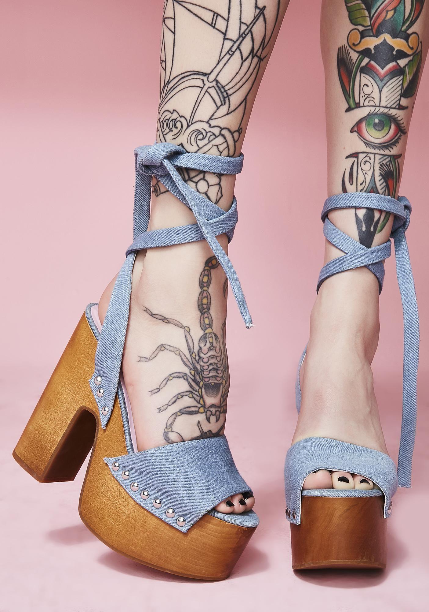 7c992171767836 Sugar Thrillz Serve Sass Denim Wrap Sandals