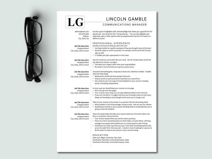 Clean executive level resume template simple one page cv