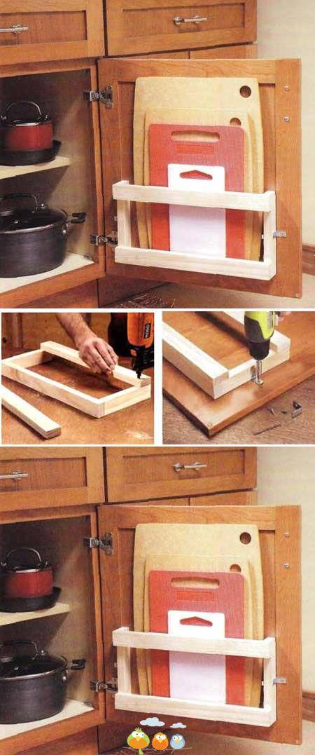 Diy Cutting Board Storage Saver Kitchen Diy Kitchen Storage