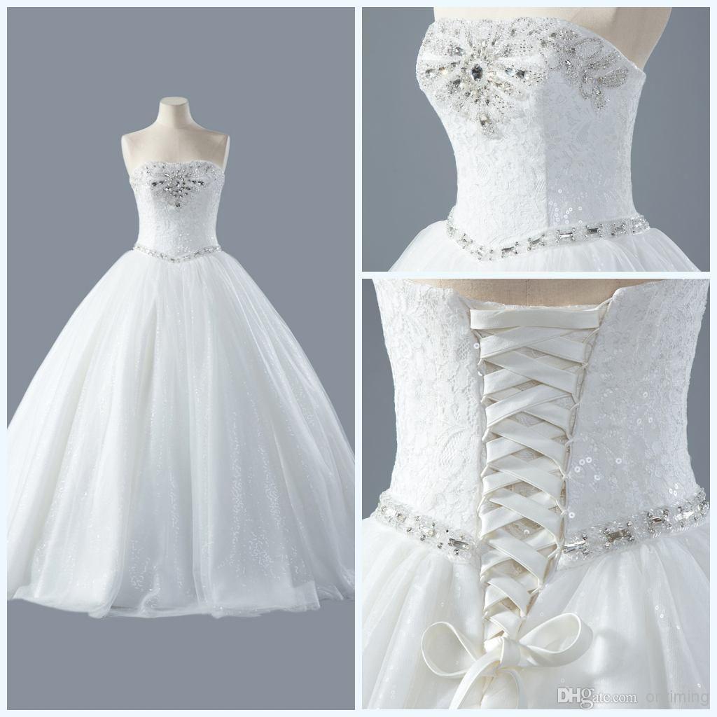 DM 2014 Cheapest Sequins Ball Gown Bridal Dresses White Floor Length ...