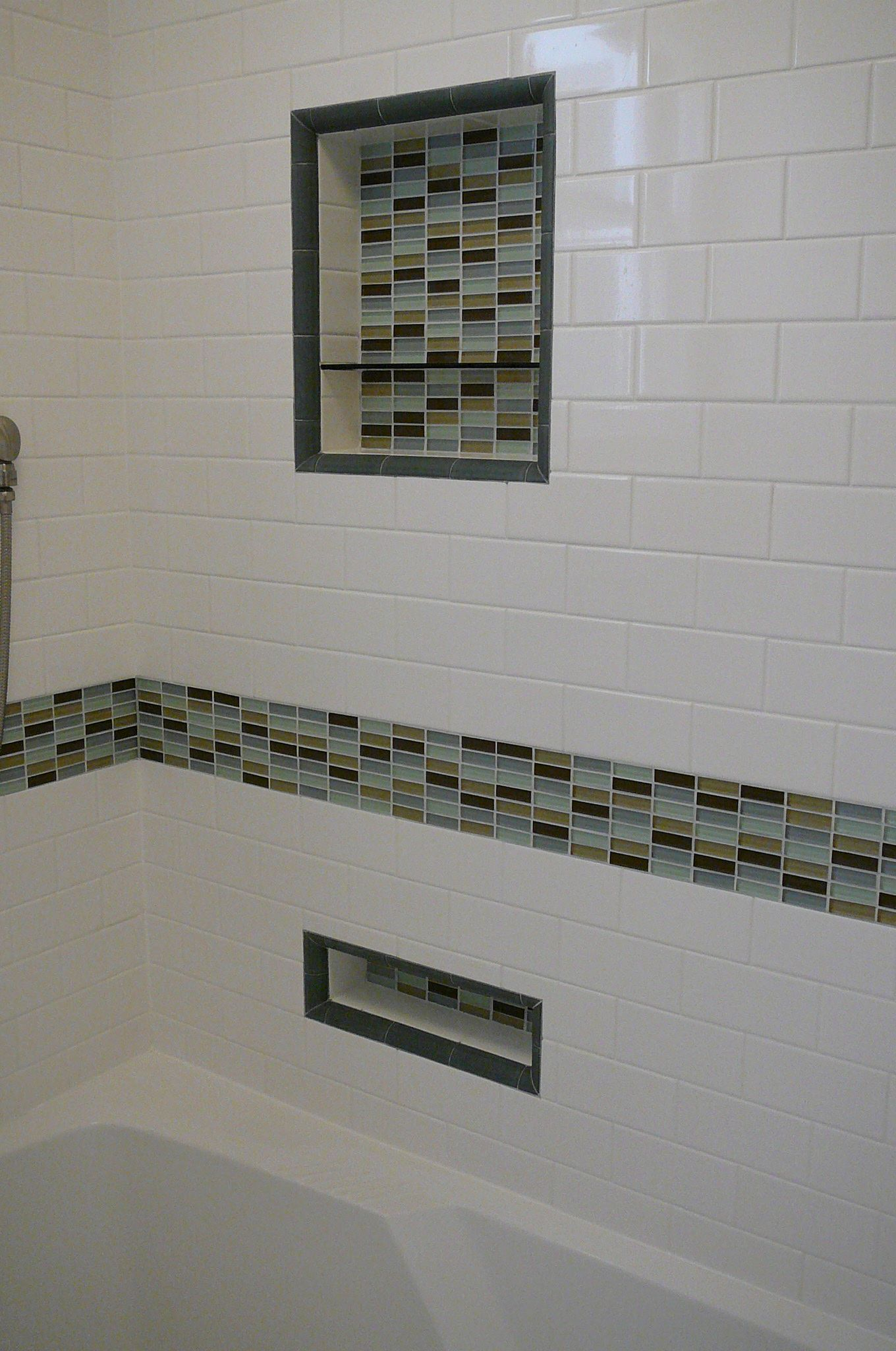 White Square Tile With Glass Rectangular Tile Accents | Bathroom Glass Tile  Accent Ideas