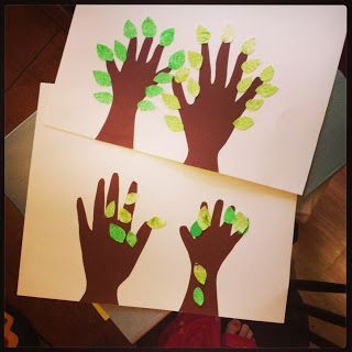Hupsutteluja: Ystäväpuut - Friendship trees // Nice craft idea for friends that are younger and older