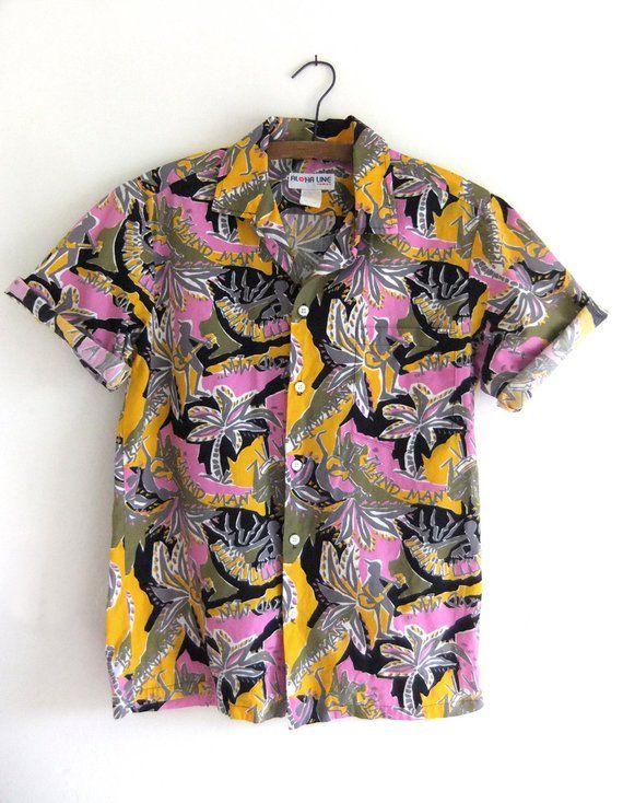 e69401b6 Island Man Novelty Print Aloha Shirt Surfer Style Hawaiian Shirt Bright  Patterned Button Down Tiki P