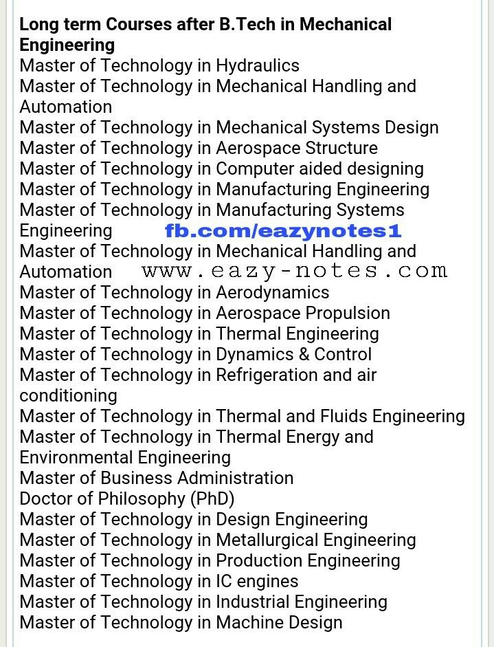 Courses for Mechanical after BTech Manufacturing