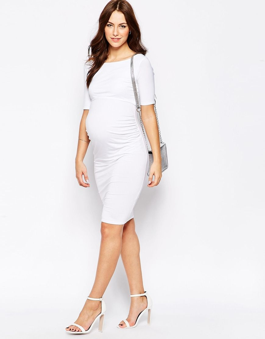 Image 4 of asos maternity bardot dress with half sleeve prego pregnancy chic 14 pregnancy style cues from our favorite stars ombrellifo Gallery