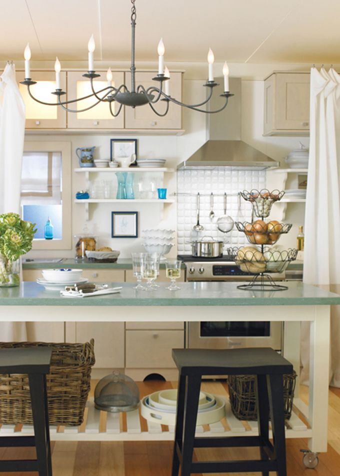 Love the turquoise counter top and open shelving but still gettin closed storage with your hight