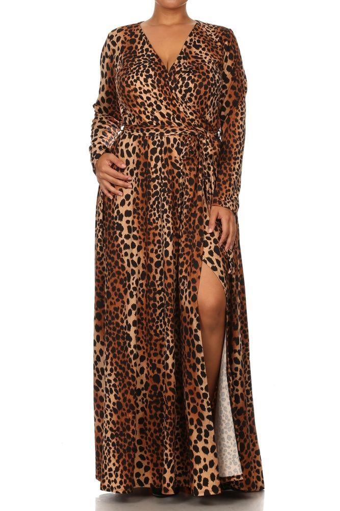 Plus Sexy Leopard Stretch Jersey Maxi Dress Faux Wrap Long