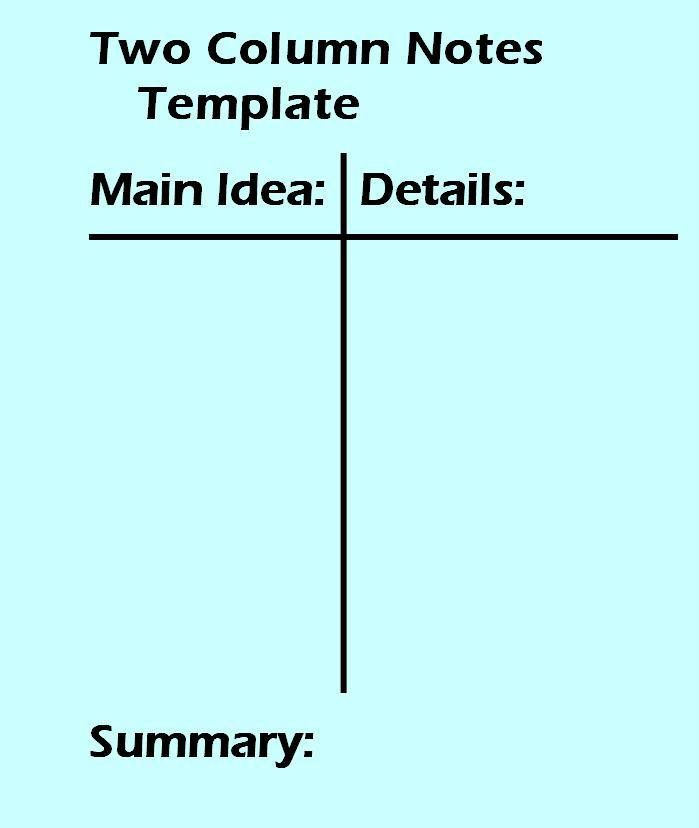 2 Column Notes Template Worksheet – Note Taking Worksheets