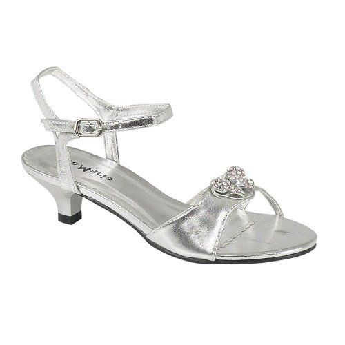 Onlineshoe S Low Heel Wedding Bridesmaid Party Silver Diamante Shoes Sandals 8 2 Junior Uk11