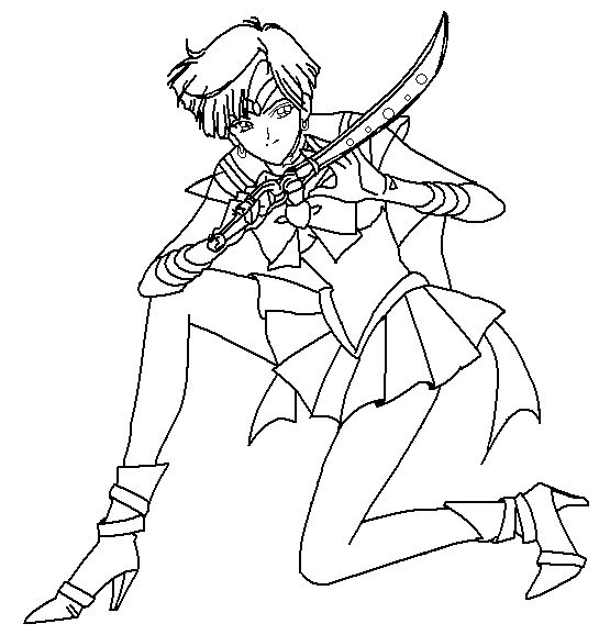 Sailor Uranus Grasp The Sword | Sailor Moon Coloring Pages ...