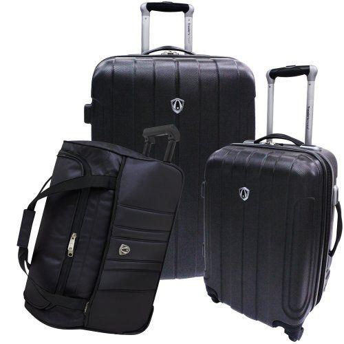 Travelers Choice Hard Shell Luggage Set, Black, Extra Large ...