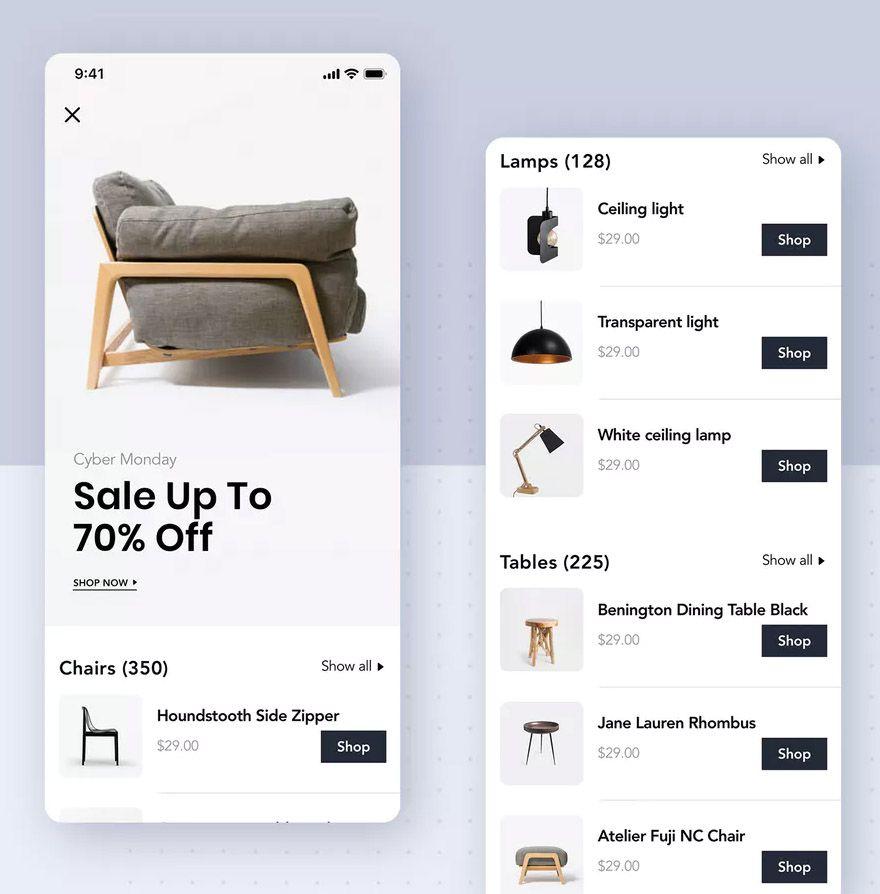 Modern Furniture Mobile App User Interface Kit App User Interface Mobile App Modern Furniture