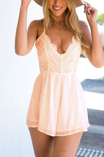 Pink Semi Sheer Sleeveless Open Back Elastic Waist Playsuit with Lace Details