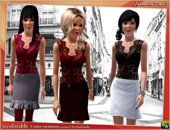 Lace Top for your sims 3 female casual and formal wardrobe. Recolorable, 3 color variations in the same pack, custom CAS and launcher thumbnails.
