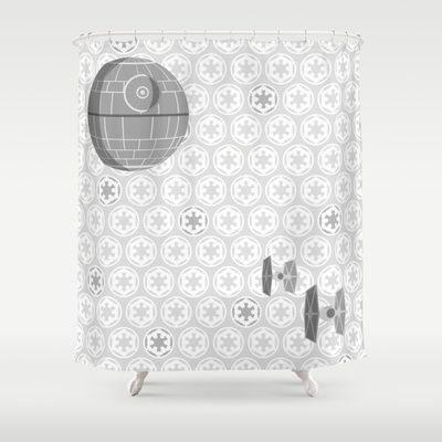 Star Wars Death Tie Fighters And Imperial Crest In Gray Shower Curtain By Foreverwars