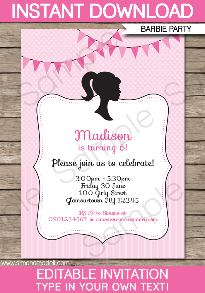 Barbie Party Invitations Template Barbie Party Party - Birthday party invitation maker downloads