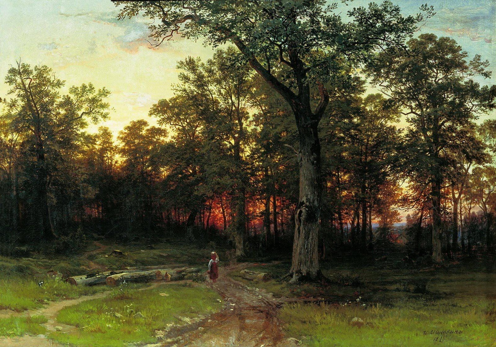 Ivan Shishkin, Wood in the evening, 1868-1869, Ribinsk State History-Architectural and Art Museum-Reserve, Ribinsk, oil on canvas