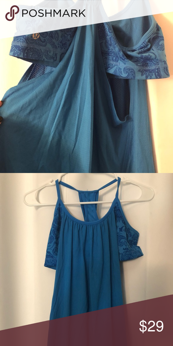 af7c8fb1f3 Lulu lemon tank with built in sports bra Perfect condition bright blue with  patterned bra attached lululemon athletica Tops Tank Tops