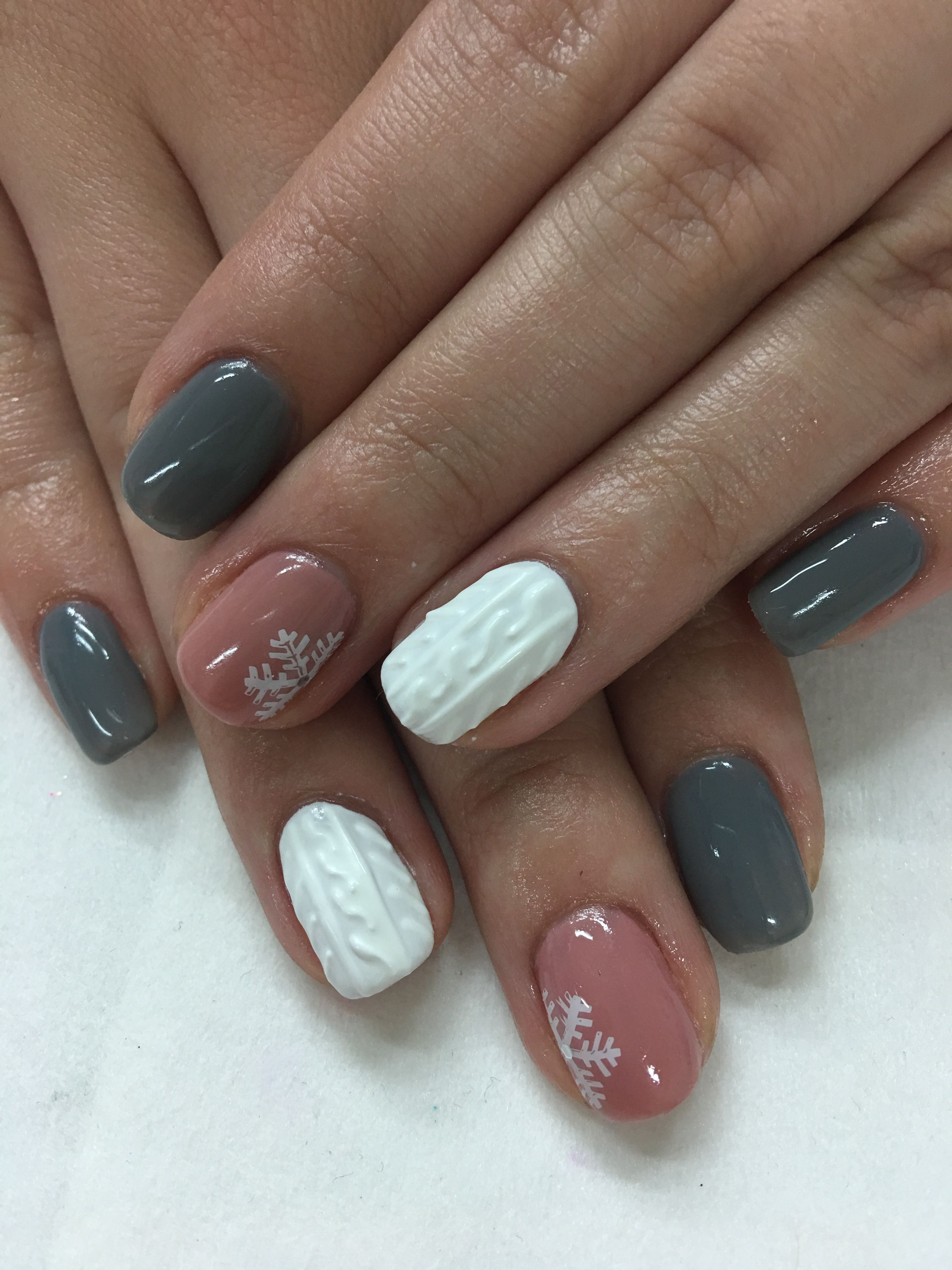 Grey Mauve 3d Hand Painted Winter Sweater Snowflake Gel Nails Nail Designs Winter Nails Winter Nail Designs