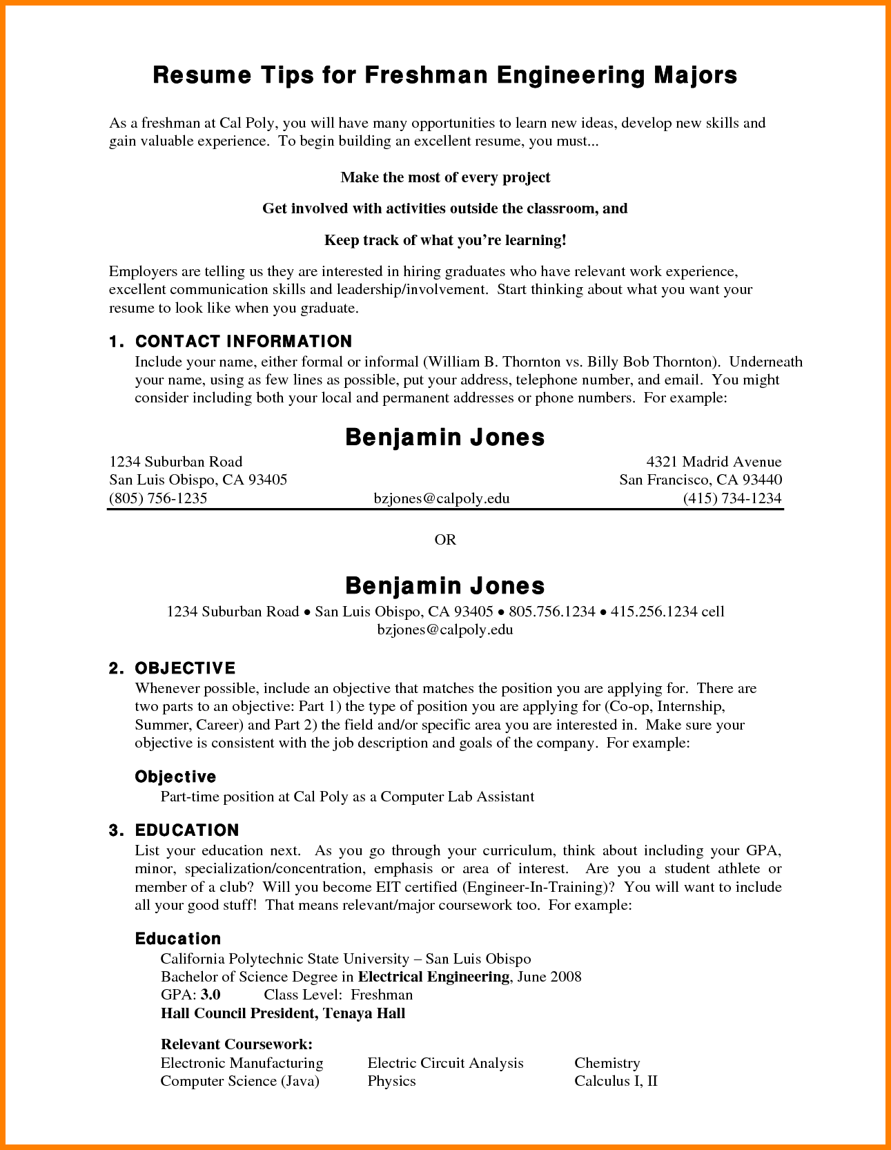 Freshman College Student Resume Resume College Student Sample Cover Objective For Freshman  Home