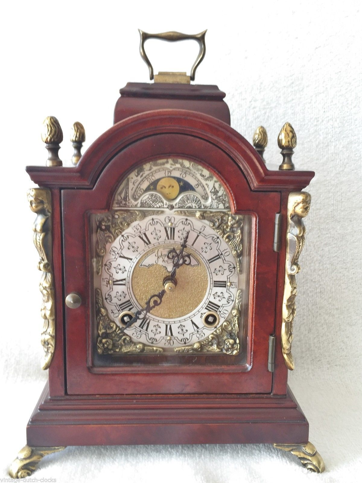 Warmink Mantel Bracket Clock Mecanical Wind Dutch Moon