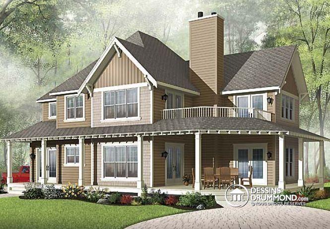 W2837a v1 mod le maison champ tre 3 chambres garage double 2 salons house - Modele maison champetre ...
