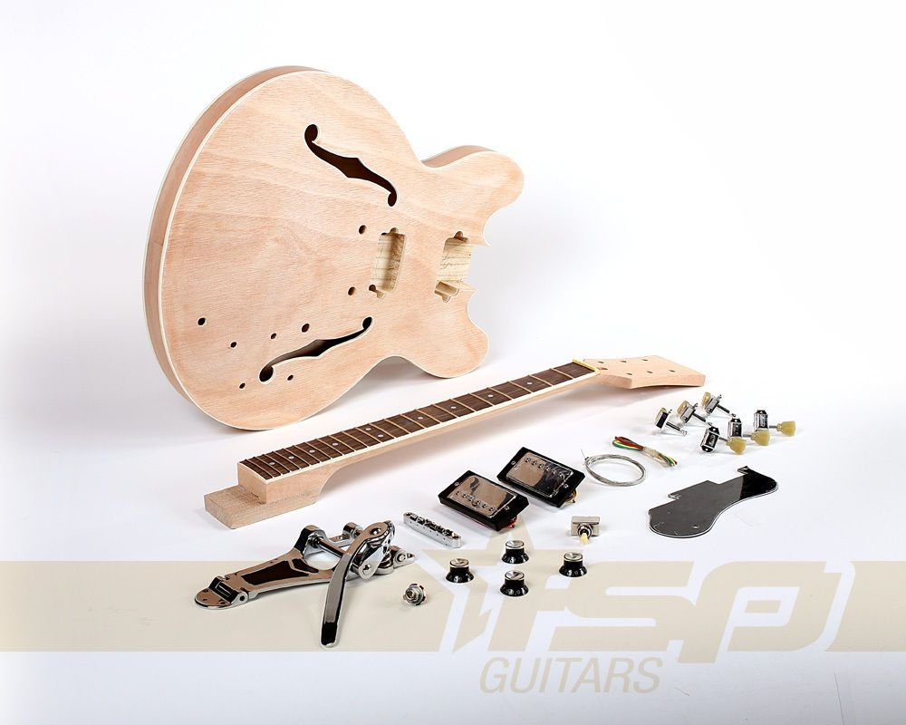 semi hollow body diy electric guitar builder kit with mahogany unfinished new guitar kits. Black Bedroom Furniture Sets. Home Design Ideas