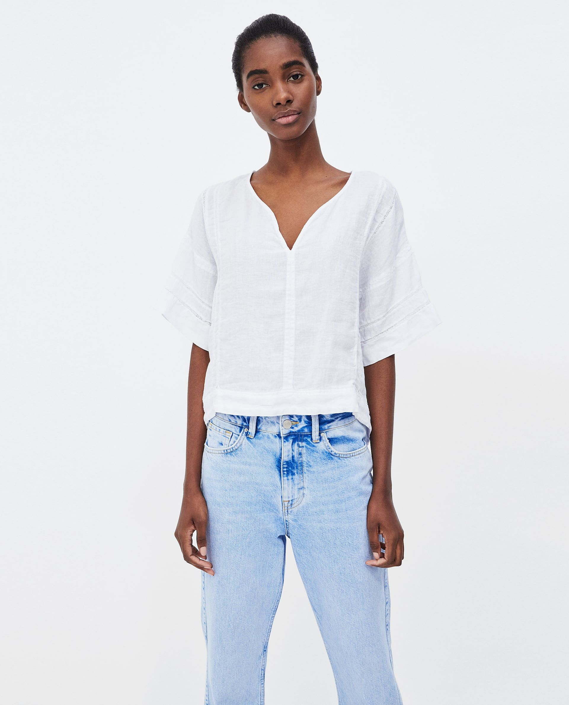 443e2072361d7 WHITE LINEN TOP WITH LACE TRIMS from Zara