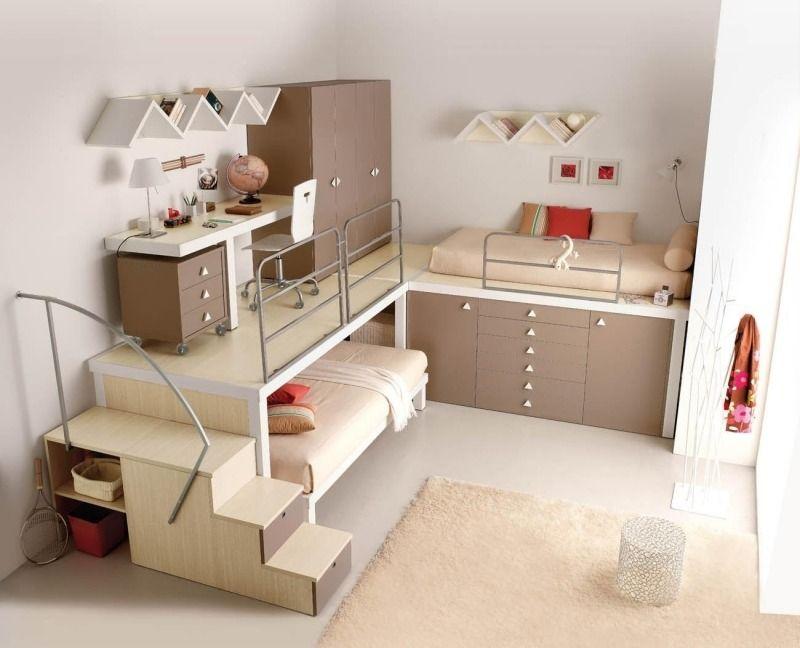 jugendzimmer mit ahorn-möbeln mit platzsparendem design, Hause deko